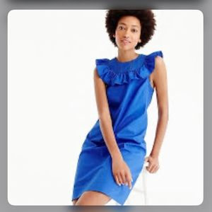 J. Crew Ruffle Neck Blue Shift Dress Size 10